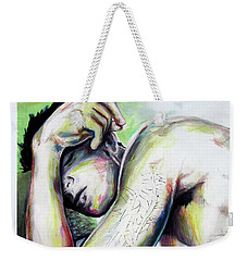 Weekender Tote Bag featuring the painting Latitude And Logintude by Rene Capone