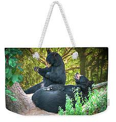 Weekender Tote Bag featuring the painting Laughing Bears by John Haldane