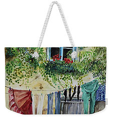 Weekender Tote Bag featuring the painting Laundry Day In France by Jan Dappen