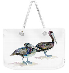 Laurel And Hardy, Brown Pelicans Weekender Tote Bag by Amy Kirkpatrick