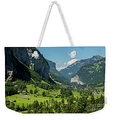 Weekender Tote Bag featuring the photograph Lauterbrunnen Mountain Valley - Swiss Alps - Switzerland by Gary Whitton