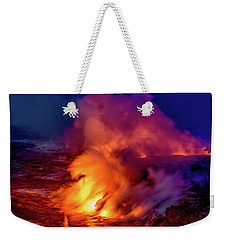 Weekender Tote Bag featuring the photograph Lava And Ocean At Dawn by Allen Biedrzycki