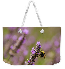 Weekender Tote Bag featuring the photograph Lavender And Bee by Nick Boren
