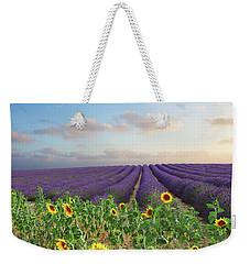 Lavender And Sunflower Flowers Field Weekender Tote Bag