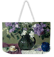 Lavender And White Lilacs With Blue Creamer And Teacup Weekender Tote Bag