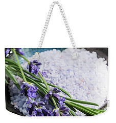 Weekender Tote Bag featuring the photograph Lavender Bath Salts In Dish by Elena Elisseeva