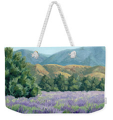 Lavender, Blue And Gold Weekender Tote Bag by Sandy Fisher