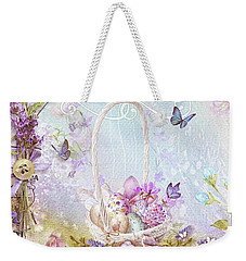 Weekender Tote Bag featuring the mixed media Lavender Easter by Mo T