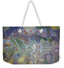 Lavender Fairies Weekender Tote Bag by Judith Desrosiers