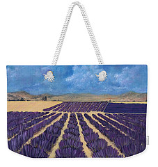 Weekender Tote Bag featuring the painting Lavender Field by Anastasiya Malakhova
