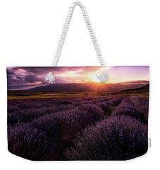 Lavender Field At Sunset Weekender Tote Bag