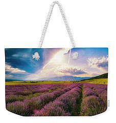 Lavender Field Panorama Weekender Tote Bag