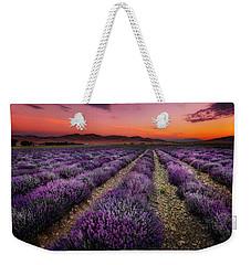 Lavender Fields At Sunrise Weekender Tote Bag