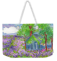 Weekender Tote Bag featuring the painting Lavender Fields by Cathie Richardson