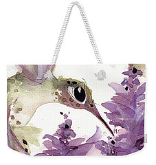 Weekender Tote Bag featuring the painting Lavender Hummer by Dawn Derman