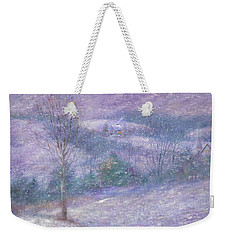 Weekender Tote Bag featuring the painting Lavender Impressionist Snowscape by Judith Cheng