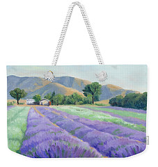 Weekender Tote Bag featuring the painting Lavender Lines by Sandy Fisher