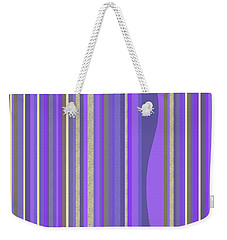 Weekender Tote Bag featuring the digital art Lavender Random Stripe Abstract by Val Arie