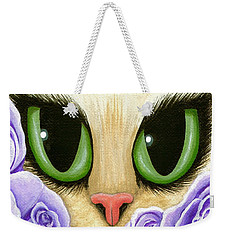 Weekender Tote Bag featuring the painting Lavender Roses Cat - Green Eyes by Carrie Hawks