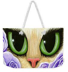 Lavender Roses Cat - Green Eyes Weekender Tote Bag by Carrie Hawks