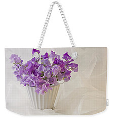 Lavender Sweet Peas And Chiffon Weekender Tote Bag by Sandra Foster