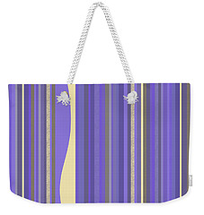 Weekender Tote Bag featuring the digital art Lavender Twilight - Stripes by Val Arie