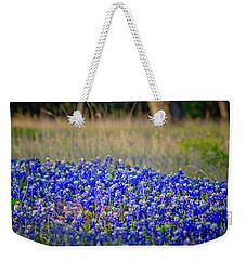 Weekender Tote Bag featuring the photograph Layers Of Blue by Linda Unger