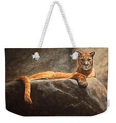 Laying Cougar Weekender Tote Bag