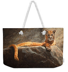 Laying Cougar Weekender Tote Bag