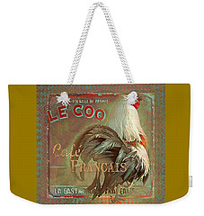 Le Coq - Cafe Francais Weekender Tote Bag by Jeff Burgess