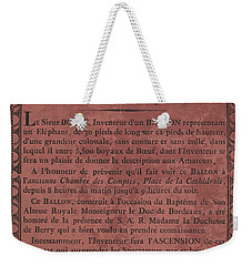 Le Maire Balloon Race Weekender Tote Bag
