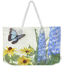 Weekender Tote Bag featuring the painting Le Petit Jardin 1 - Garden Floral W Butterflies, Dragonflies, Daisies And Delphinium by Audrey Jeanne Roberts