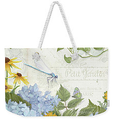 Weekender Tote Bag featuring the painting Le Petit Jardin 2 - Garden Floral W Dragonfly, Butterfly, Daisies And Blue Hydrangeas by Audrey Jeanne Roberts
