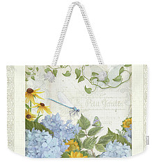 Weekender Tote Bag featuring the painting Le Petit Jardin 2 - Garden Floral W Dragonfly, Butterfly, Daisies And Blue Hydrangeas W Border by Audrey Jeanne Roberts