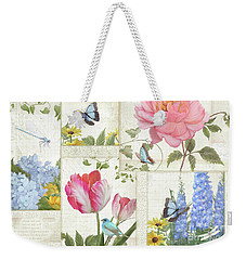 Weekender Tote Bag featuring the painting Le Petit Jardin - Collage Garden Floral W Butterflies, Dragonflies And Birds by Audrey Jeanne Roberts