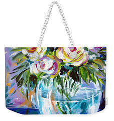 Weekender Tote Bag featuring the painting Le Rose Bianche by Roberto Gagliardi