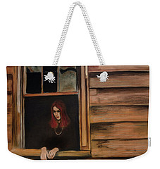 Weekender Tote Bag featuring the painting Lea Henry Broken Window Broken Dreams by Ron Richard Baviello