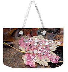 Weekender Tote Bag featuring the photograph Leaf Bling by Kendall McKernon