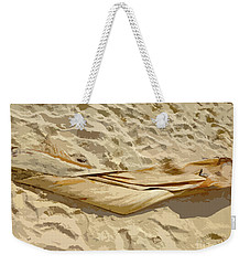 Weekender Tote Bag featuring the digital art Leaf In The Sand by Francesca Mackenney