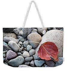 Leaf On River Rocks Weekender Tote Bag
