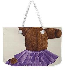 Weekender Tote Bag featuring the painting Leah's Ballerina Bear 1 by Tamir Barkan