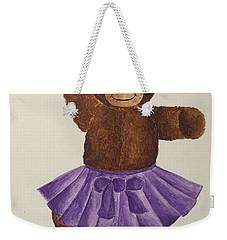 Weekender Tote Bag featuring the painting Leah's Ballerina Bear 2 by Tamir Barkan
