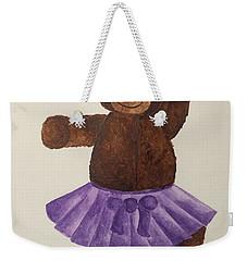 Weekender Tote Bag featuring the painting Leah's Ballerina Bear 4 by Tamir Barkan