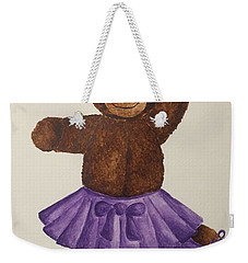 Weekender Tote Bag featuring the painting Leah's Ballerina Bear 5 by Tamir Barkan