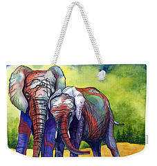 Weekender Tote Bag featuring the painting Lean On Me by Barbara Jewell