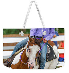 Weekender Tote Bag featuring the photograph Leaning Into The Turn by Guy Whiteley