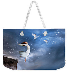 Weekender Tote Bag featuring the digital art Leap Of Faith by Nicole Wilde