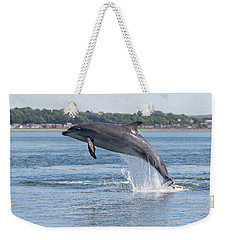 Weekender Tote Bag featuring the photograph Leaping Dolphin - Moray Firth, Scotland by Karen Van Der Zijden