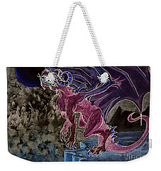 Weekender Tote Bag featuring the mixed media Leaping Dragon 2 by Reed Novotny