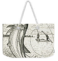 Weekender Tote Bag featuring the drawing Leaping Tarpon by Charles Harden